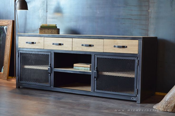 Meuble tv 4 tiroirs style industriel - MICHELI Design