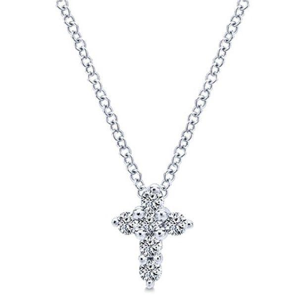 "Gabriel 14K White Gold Classic Mini Diamond Cross Pendant Featuring 0.11 Carats Round Cut Prong Set  Diamonds on an 15"" Cable Link Chainhttp://www.bengarelick.com/products/gabriel-classic-prong-set-diamond-cross-pendant"