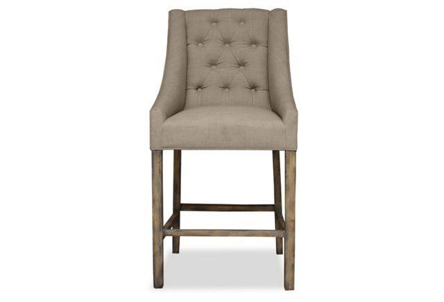 Barbuda Grey Tufted Bar Stool Upholstered Vintage Linen