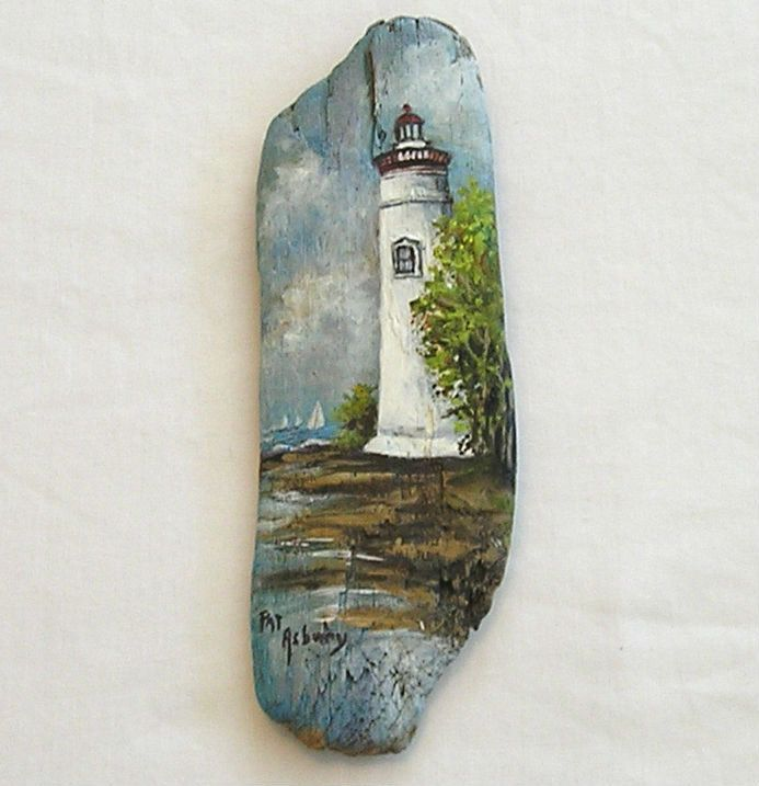 Marblehead Lighthouse ,Original Painting on Driftwood by Pat Asbury. $21.00, via Etsy.