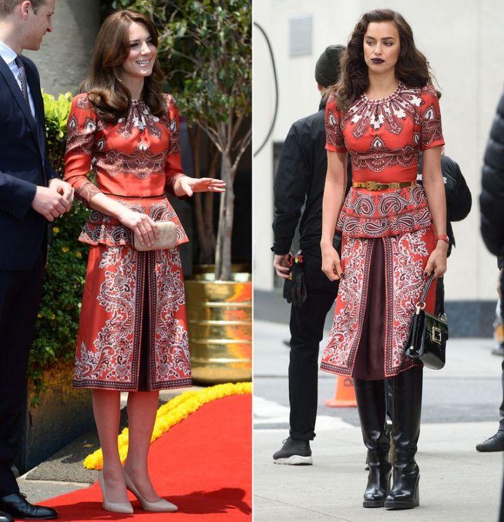 """Während ihrer sechstägigen Reise durch Indien und Bhutan Mitte April brachte Herzogin Kate an der Seite ihres Liebsten Prinz William so manches Fashionista-Herz zum Pochen: Nicht ein Look der Fashionista-Royalista, in dem sie nicht aussah wie der """"Vogue"""" entsprungen. Aber kann sich Kate auch mit Berufsschönheit Irina Shayk messen, die eines von Kates Outfits jetzt bei einem ECHTEN """"Vogue""""-Shooting trug?"""