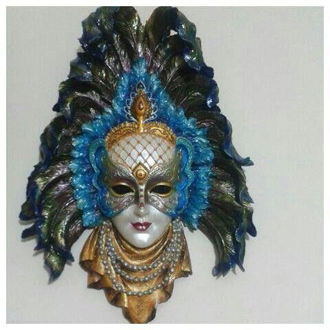Polyester Alçıdan Maske Boyama Ahşap Venitian Mask Venetian