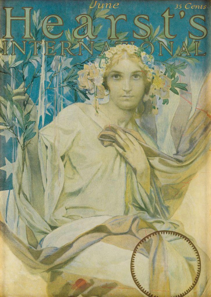 ALPHONSE MUCHA (1860-1939) HEARST'S INTERNATIONAL / JUNE. Magazine cover. 1922.