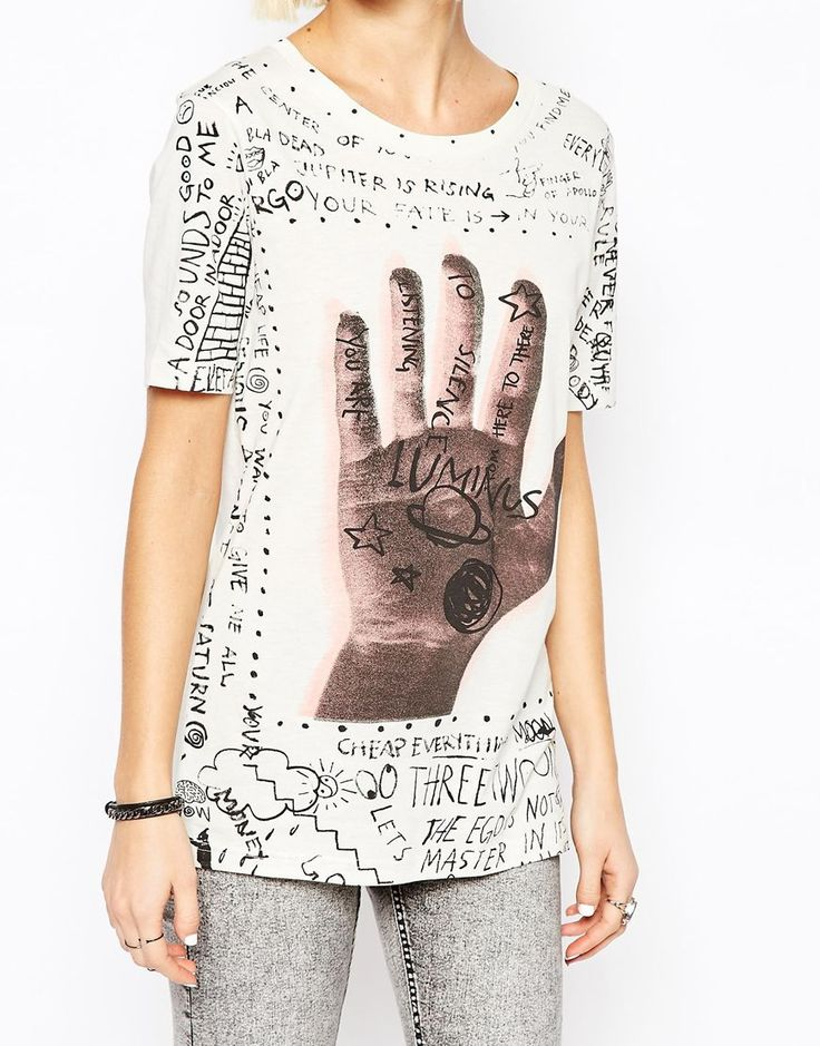 Cheap Monday Break T-Shirt With Psyched Hand Scribble