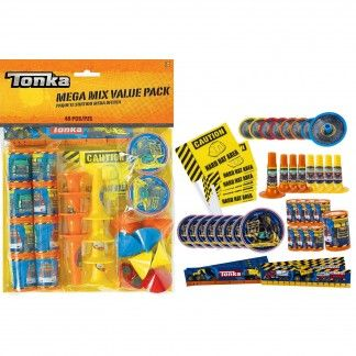 Thank your tiny truckers for coming to the party with treats from our Tonka mega value favour pack!This awesome Tonka favour pack contains all you need to fill 8 Tonka treat bags (not included).The pack contains 48 assorted Tonka themed favours -8 maze puzzles8 mini tops8 horns8 flags8 prism viewersand 8 rulers.Use these fantastic Tonka themed favours to create Tonka thank-you packs for guests. You can even use these great Tonka party favours to fill a pinata, to hide in the yard for a…