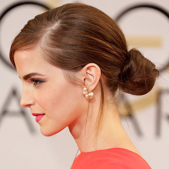 15 Easy Celebrity Updos | Updo, Emma watson hair and Earrings