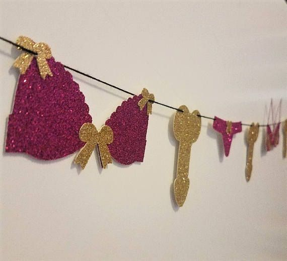 This adorable, handmade Lingerie Banner is the perfect addition to any Bachelorette Party, Hen Party, Bridal Shower, or Lingerie Party! Surprise the bride to be with unique, Pinterest-worthy décor! Choose from numerous color and banner options: Get raunchy with our Lingerie & Penis Banner... or stay sweet with our Lingerie & Diamonds or Lingerie & Dots Banners. -Order Details- Each banner is pre-strung for your convenience with white or black thread depending on color choices....