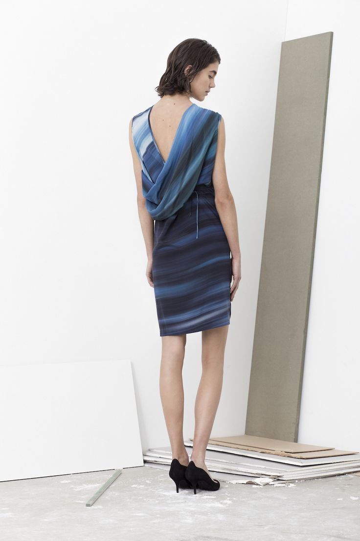 All in one backless Gotti drape dress with self belt