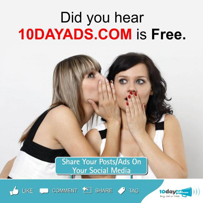 Did you hear 10dayads.com is Free. #ClassifiedWebsites #FreeAdvertisingSites