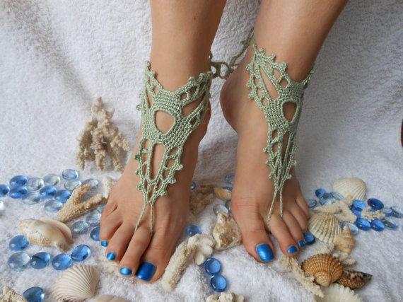 Uncinetto Barefoot Beach sandali Yoga scarpe piedi monili di nozze verde menta