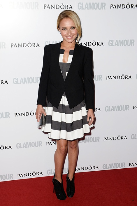 Hayden Panettiere wears Black Halo Eve's Fall 2013 Ebony Black & White Stripe Cocktail Dress to the Glamour Women of the Year Awards 2013 in London, England