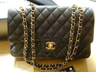 Chanel Bag Classic Flap 2.55 Black Cavier Gold