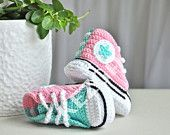 Crochet Baby Shoes - Baby Converse - Newborn Baby Shoes - Baby Boy -Baby Girl - Pink Mint - Knitted Baby Sneakers