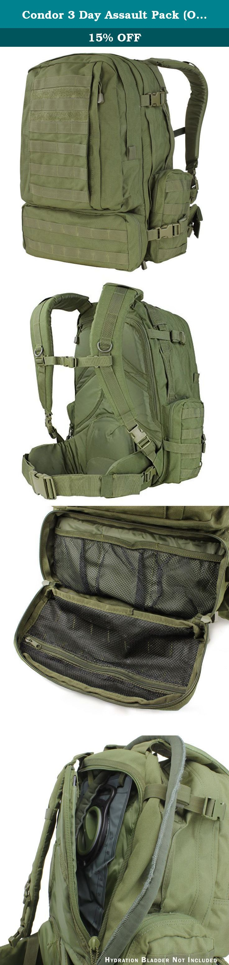 Condor 3 Day Assault Pack (Olive Drab, 3038-Cubic Inch). Condor Outdoor Products, Inc specialize in tactical vest, plate carrier, modular pouches, packs...etc. With over 20 years of experience in the tactical/outdoor gear industry, Condor offers all the essential gear for any mission while saving you money.