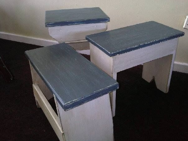 Stools/Side Tables in White and Blue Shabby Chic finish