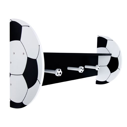 Soccer Shelf With Pegs - http://www.theboysdepot.com/baseball-shelf-with-pegs-clone.html