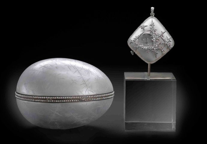 """""""Nobel Ice egg"""", or the """"Snowflake Egg"""" and Fabergé, by Alma Pihl, 1914. Inside the egg, there is a miniature watch-pendant made of rock-crystal and platinum, decorated with ice crystals of rose-cut diamonds. This work was commisioned by Dr. Emanuel Nobel."""