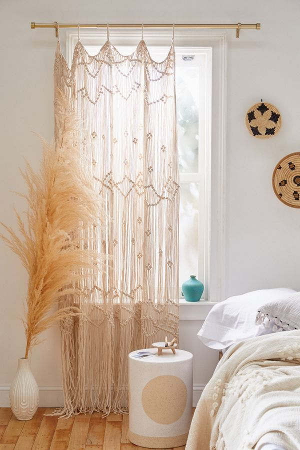 Mariana Macrame Window Panel In 2020 Bamboo Beaded Curtains Boho Curtains Bedroom Design