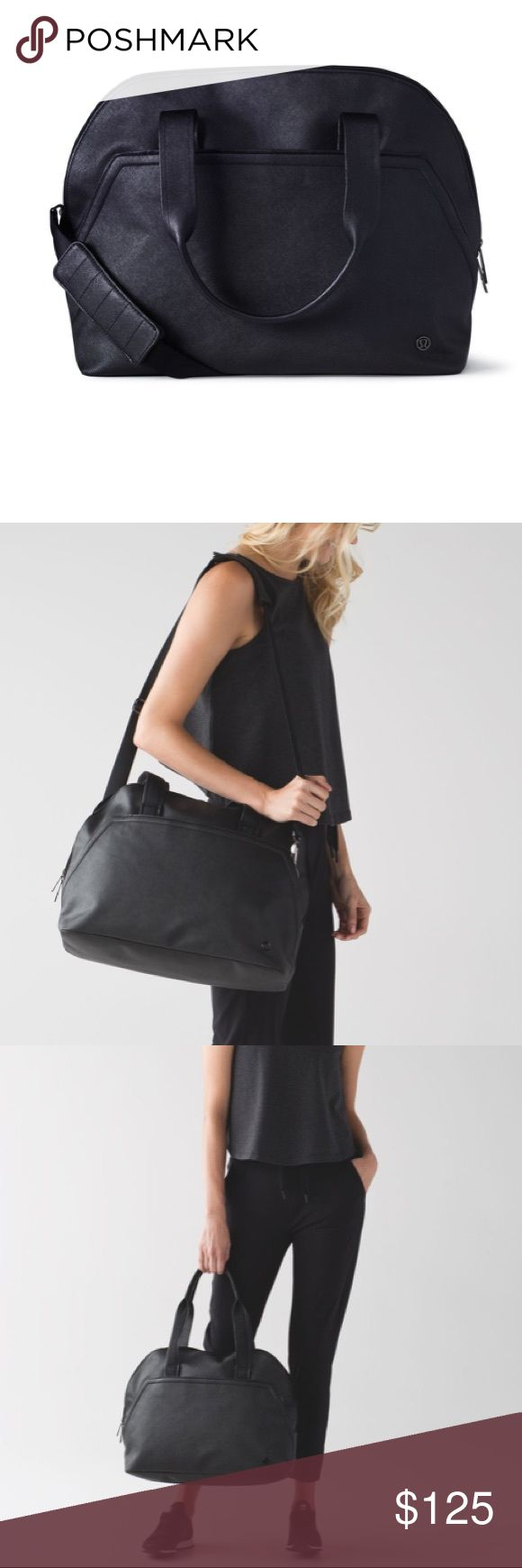 Lululemon Yin Time Bag Incredible gym bag that can be dressed up or down Textured faux leather is easy to clean and durable Tons of pockets including padded laptop pocket Can be worn as shoulder bag or crossbody Hideaway yoga mat carry straps EUC lululemon athletica Bags