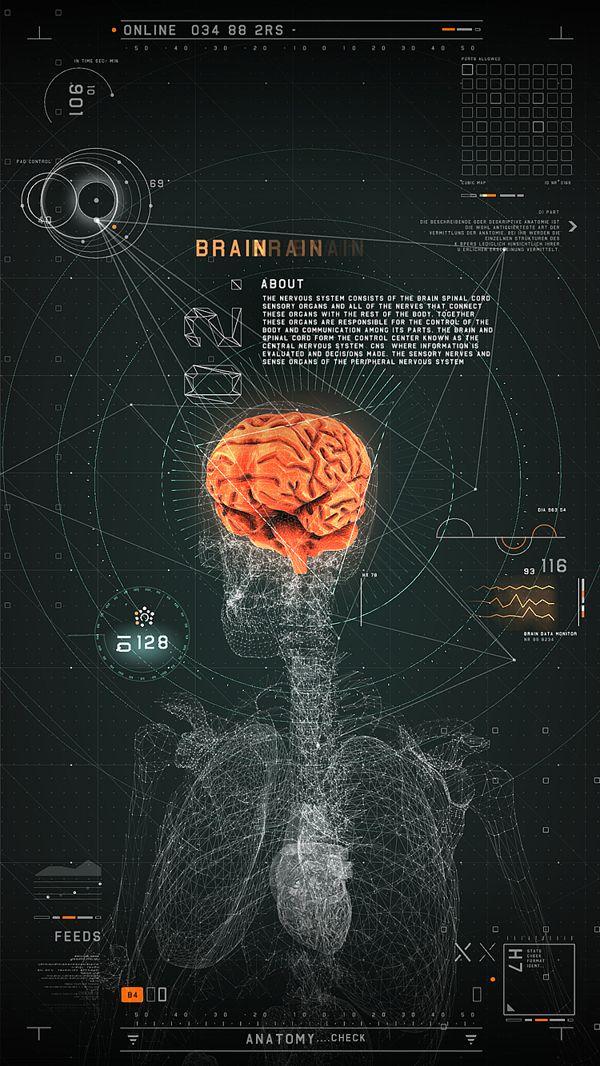 Interface futurista para aplicativo médico