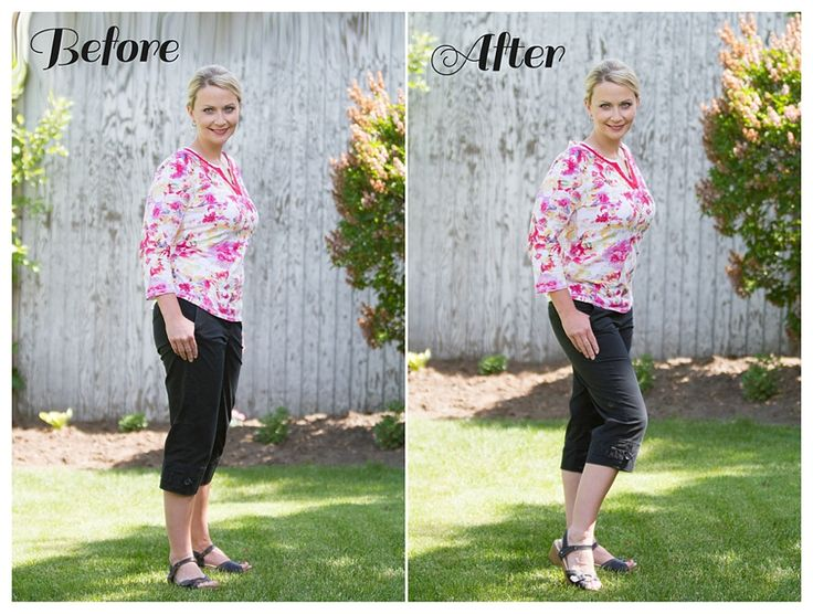 Next comes your hips. Probably the other widest part of your body. The best way to narrow those hips and midsection is to stand with your feet shoulder distance apart with your weight on the back foot, and give your front knee a little bend. Voila! Instant-waistline!