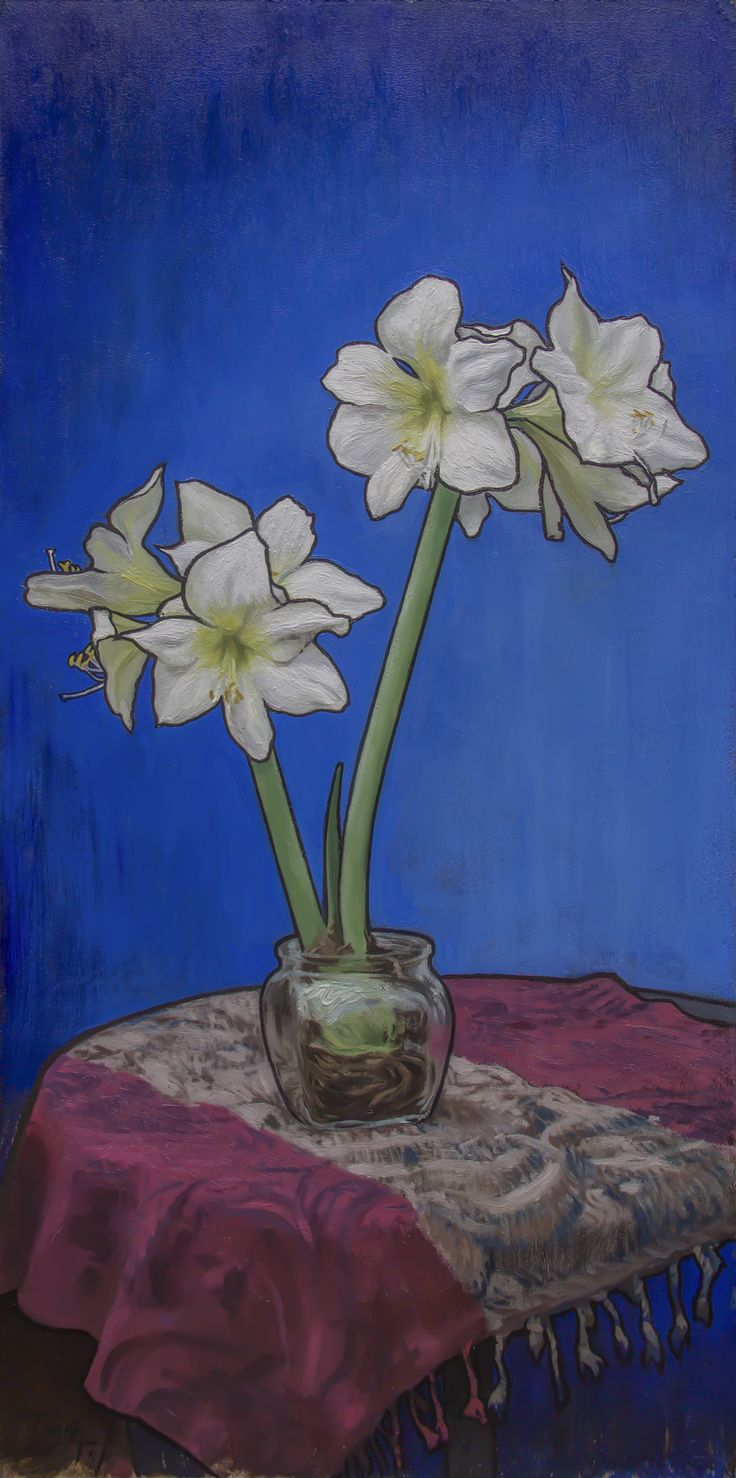 Amaryllis - 81.4x40.5cm, oil on board, 2016. See www.franktopart.com for availability and pricing.