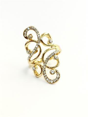 La Bella Donna - Γυναικείο δαχτυλίδι με στρας σε χρυσό χρώμα