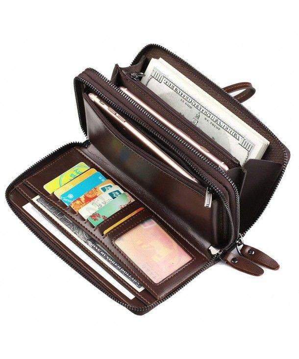 Men/'s Leather Clutch Bag Long Wallet Business Purse Double Zipper Card Holder