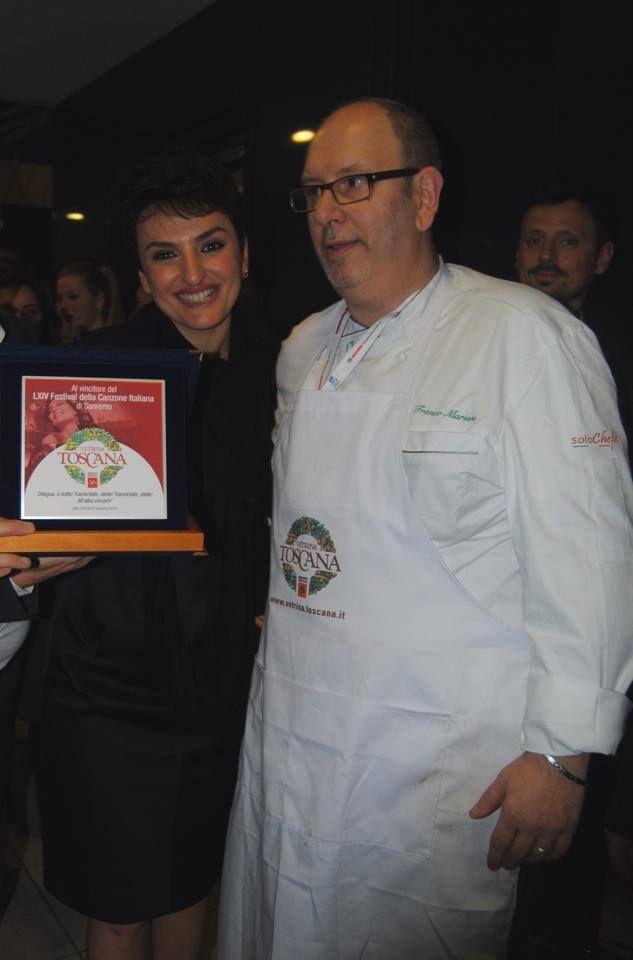 Lo chef di Vetrina Toscana con Arisa, vincitrice del Festival di Sanremo