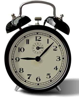 An old fashioned analog vector clock with a bell alarm.