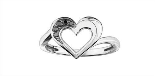 Enhanced Black Diamond Ladies Heart Ring