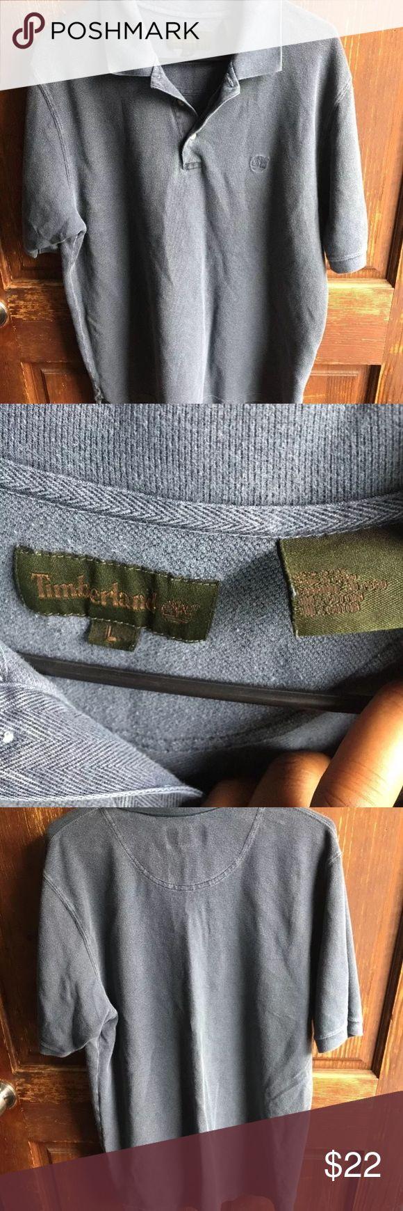 Mens Timberland 100% cotton polo shirt Blue collared shirt with 3 buttons with timberland logo Timberland Shirts Polos
