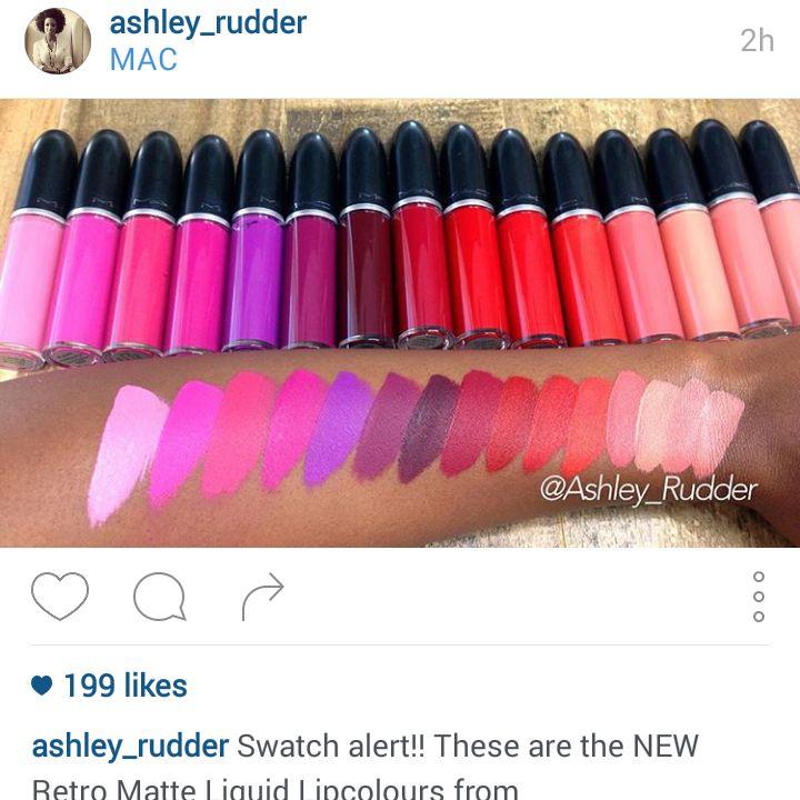 Instagram user ashley_rudder's swatches of MAC retro matte liquid lipsticks, set to launch January 7 2016