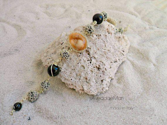 Bracciale in wire crochet e occhio di santa lucia , gioielli in rame, occhio di santa lucia, gioielli italiani, gioielli artigianali