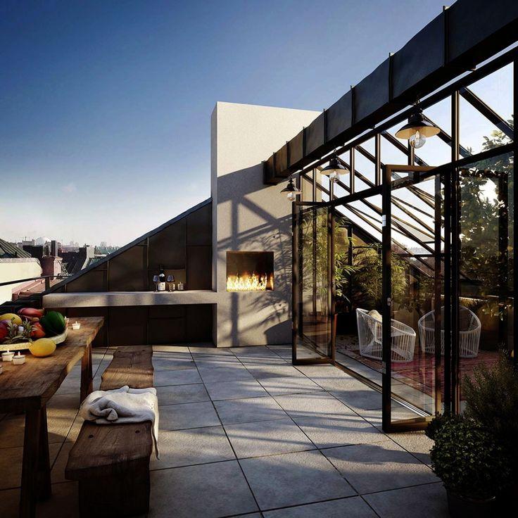Ландшафт, Терраса,  камин,ландшафтный дизайн,очаг,терраса,терраса на крыше,