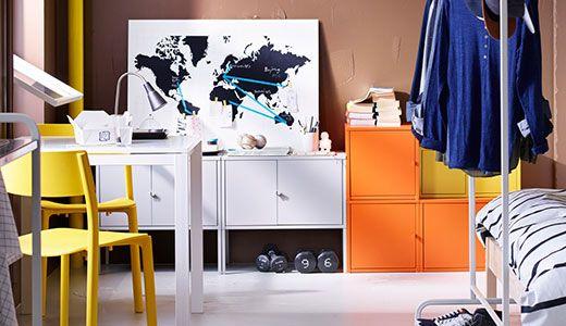 LIXHULT cabinets white, orange