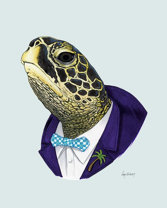 Sea Turtle art print Animal art Nursery by berkleyillustration