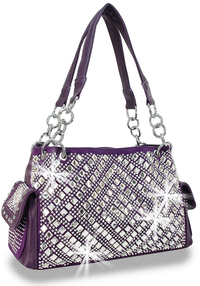Jenny Handbag Purple Rhinestone Bag Purse Bling Sparkle Silver
