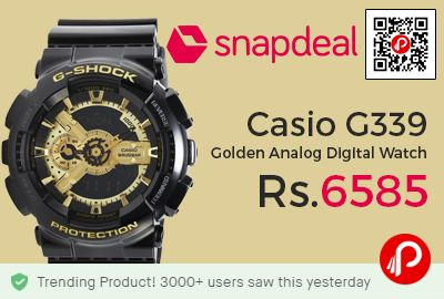 Snapdeal #Trending Product is offering 25% off Casio G339 Golden Analog Digital Watch at Rs.6585 Only. The Casio G339 is a classic watch from the G Shock collection for men best suited for formal wear. The stylish watch from Casio is super stylish and classy. The Casio G339 has an analog digital movement and comes with a stylish round dial in gold.  http://www.paisebachaoindia.com/casio-g339-golden-analog-digital-watch-at-rs-6585-only-snapdeal/