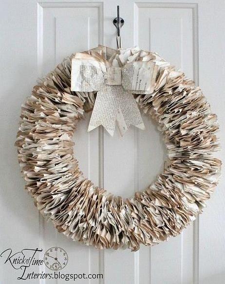 DIY: papieren krans | Tips: http://www.jouwwoonidee.nl/kerstkrans-maken/
