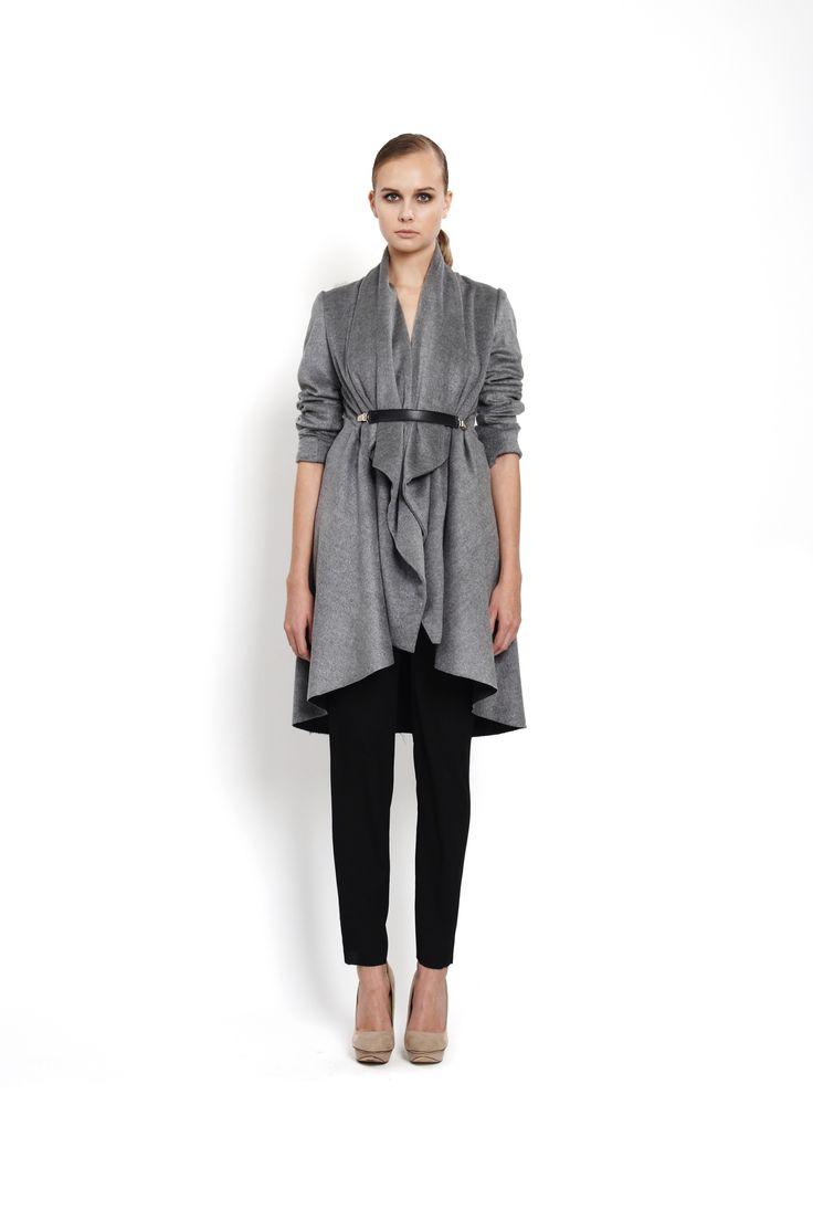 flared coat with oversized collar closed with clipbelt, design Lucie Kutálková/ LEEDA