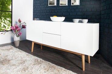 Design Sideboard LISBOA weiß 150cm mit Eiche Füßen