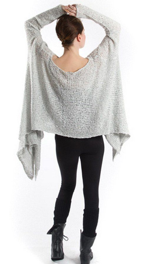 Comfortable pullover with a long asymmetrical cut at the bottom. Soft polyester rayon Hand wash in cold water, dry flat Open weave design for flexibility in fit