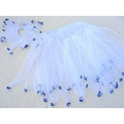 """Doll up your little fairy in these little stars! Tiny blue Stars of David dance at the end of each of the delicate white organza ribbon tutu and hair scrunchy, lending a beautiful contrast. Perfect for your pre-schooler who wants to be the center of attraction. The skirt ribbon length is approximately 12""""; and the elastic waist is approximately 22"""";."""