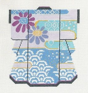 "LEE Waves Blossoms Medium Kimono handpainted Needlepoint Canvas 5""x 6"""
