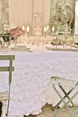 This ruffled tablecloth is made from two king size bed skirts. You can get them at Overstock for under forty dollars.  I'm going to attempt to made this as the ones you buy are over two hundred.  Savings!!!