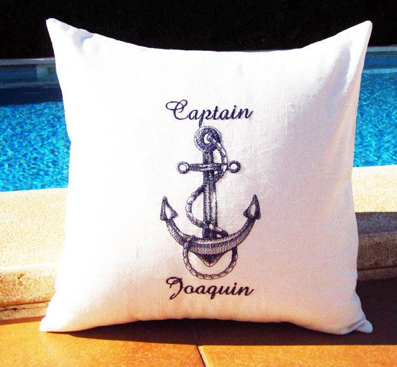 Personalized Embroidered Throw Accent nautical Pillow Cover  - Captain & 1st Mate - Linen/Cotton  Birthday Bridal Shower Boat Gift
