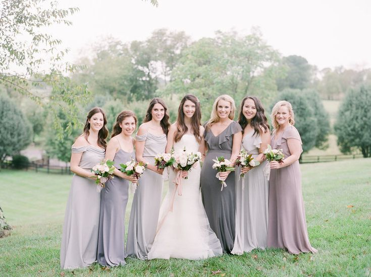 Jenny Yoo long neutral and grey bridesmaids dresses in crepe de chine     Virginia Countryside Fall Wedding by East Made Event Company fine art destination wedding planner and Julie Paisley Photography as featured on Style Me Pretty