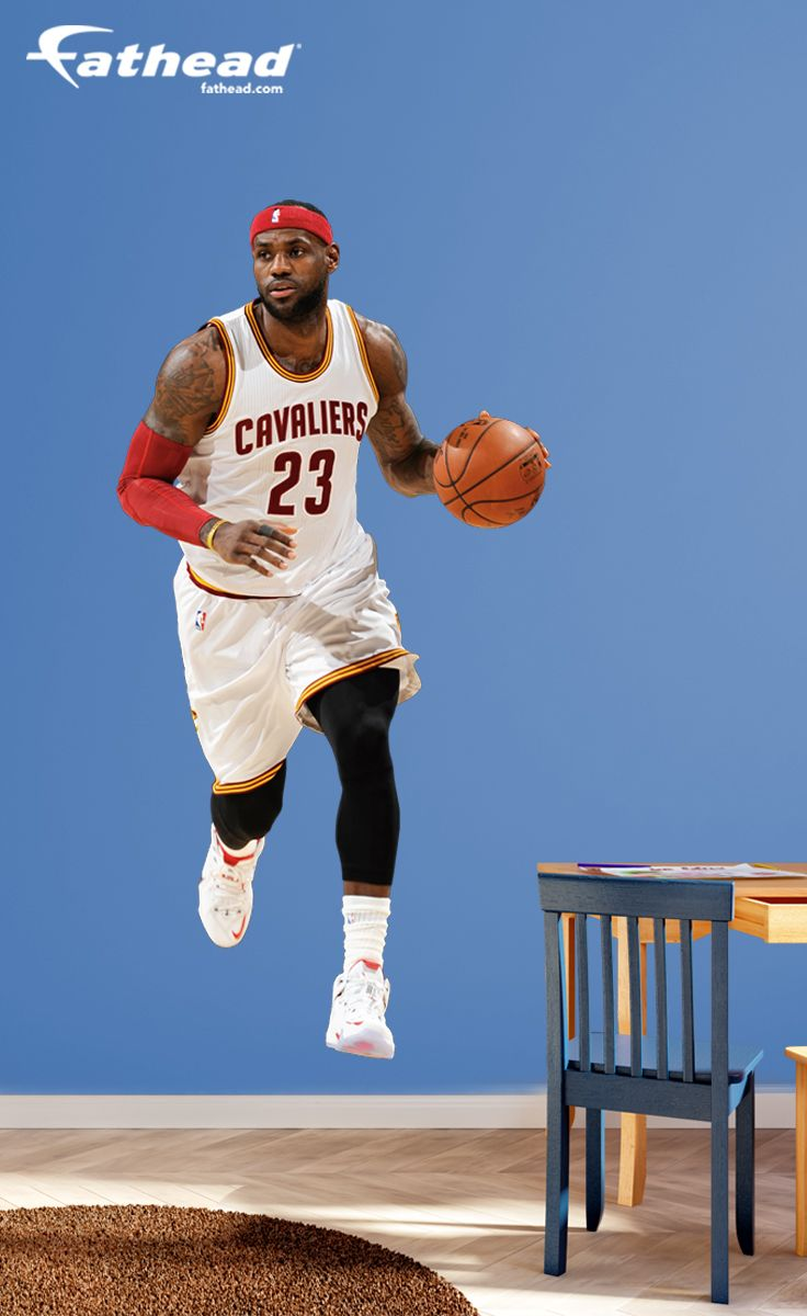 NBA Basketball | this wall decal from Fathead is huge and it stays up on its own with a low-tac adhesive that won't damage your walls. You can also move it and reuse it. SHOP http://www.fathead.com/nba/cleveland-cavaliers/life-size-lebron-james-wall-decal/ | DIY Bedroom Decor for Boys + Girls | Custom Decals | Peel & Stick | Man Cave | Home Decor