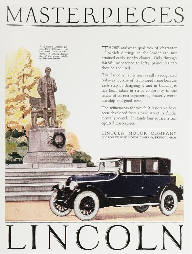 Masterpieces lincoln motor company 1924 retro ads for The lincoln motor company